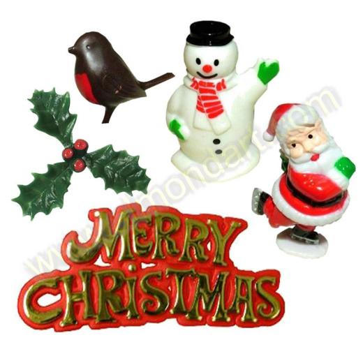Plastic Cake Decorations For Christmas : Plastic Christmas Cake Topper Set 5/pc eBay