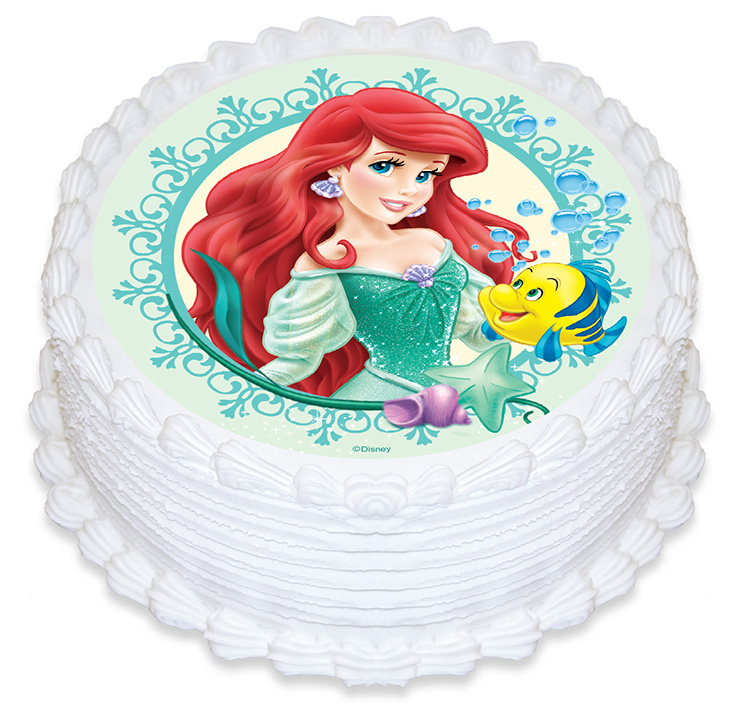 Ariel little mermaid round edible image 165mm cake for Ariel cake decoration