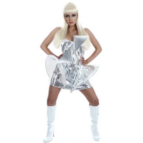 Fun-Shack-Pop-Diva-Fancy-Dress-Costume-NEW-Lady-Gaga-Silver-Mirrored-Dress