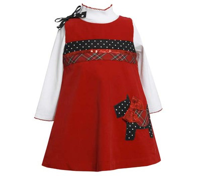 Bonnie Jean Baby Girl Toddler Red Cord Scotty Pinafore
