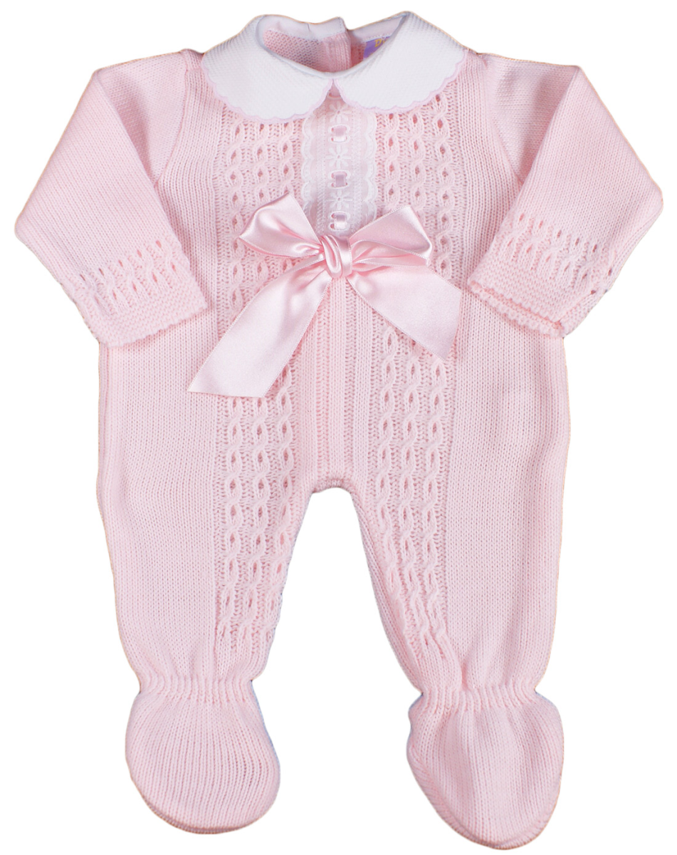 baby girl spanish bow sleepsuit romper suit knitted pink ebay