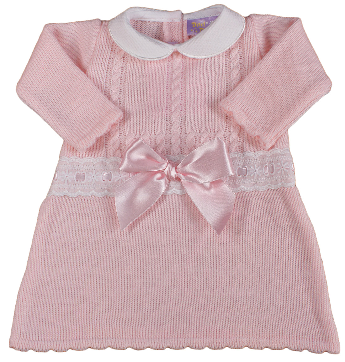 Baby Girl Dress Bow Knitted Spanish Style Pink Ebay