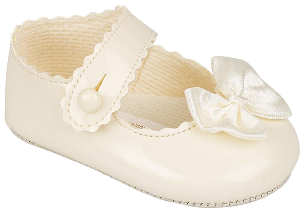 Zapatos de Bebé Bautizo Cochecito de Niño Baypods arco niña primeros días Blanco Crema Rosa Negro