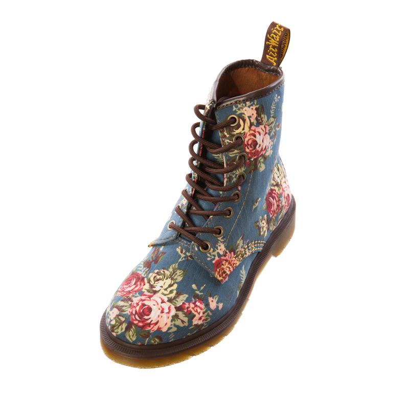 Excellent Dr Marten Women Floral 14 Eye Doc Marten Lace Up Boots Size UK