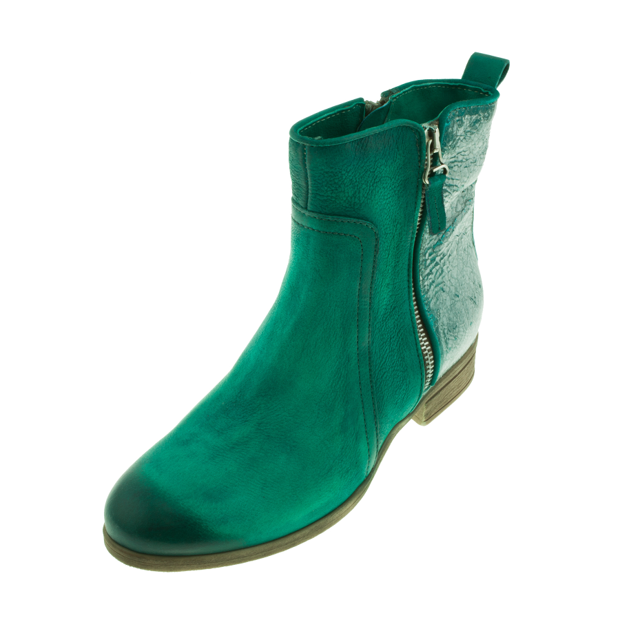mjus womes 900259 green silver leather zip ankle