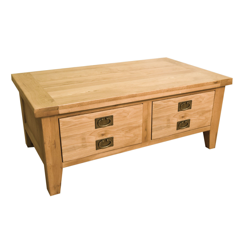 Vermont Reclaimed Oak Coffee Table 2 Drawers Ebay