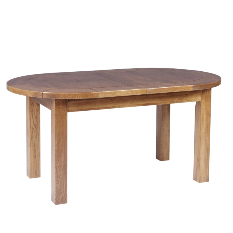 About Auvergne Solid Oak Dining Table Large Oval Flip Top 5ft4