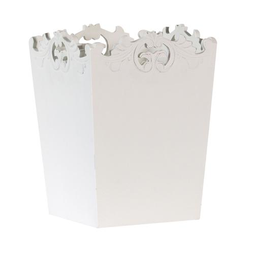 Shabby White Belgravia Chic Ornate Waste Paper Bin Basket