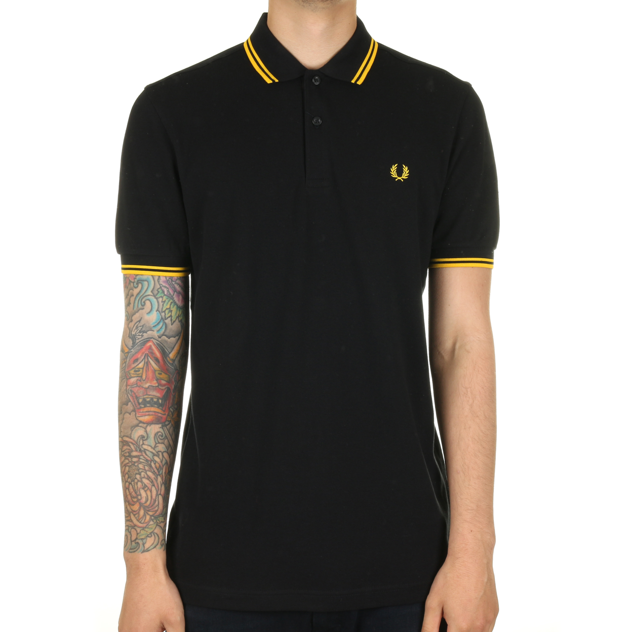 fred perry twin tipped polo shirt black new yellow ebay. Black Bedroom Furniture Sets. Home Design Ideas