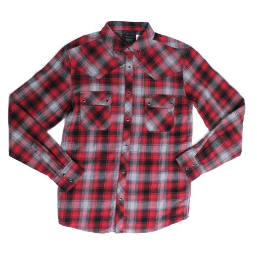 Iron fist mens aberdeen flannel shirt chilli red and black for Flannel shirt red black