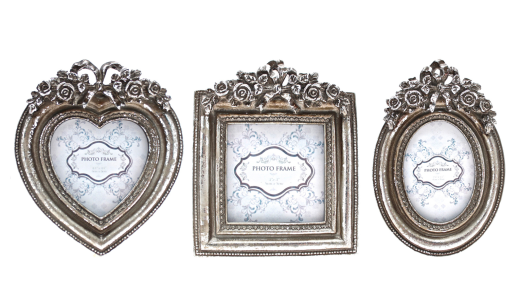 Small Antique Silver Shabby Chic Photo Frame - Heart, Square or Oval ...