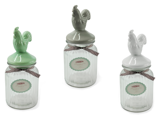 Small Glass Storage Jar With Ceramic Cockerel Airtight Lid Lp24314 Ebay