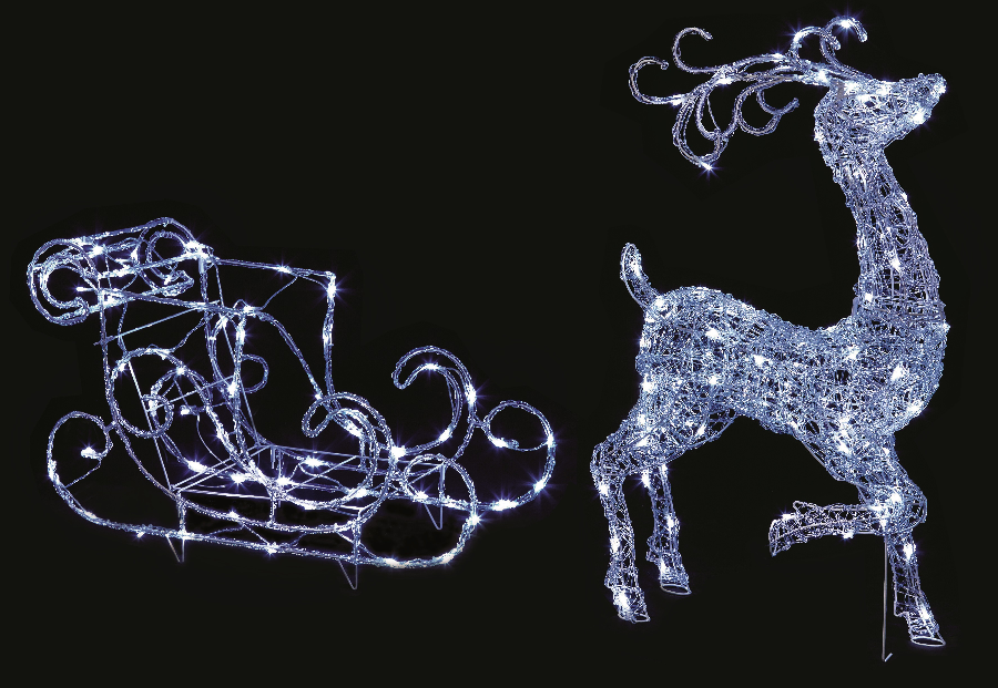 details about acrylic led light up reindeer and sleigh 1m christmas. Black Bedroom Furniture Sets. Home Design Ideas