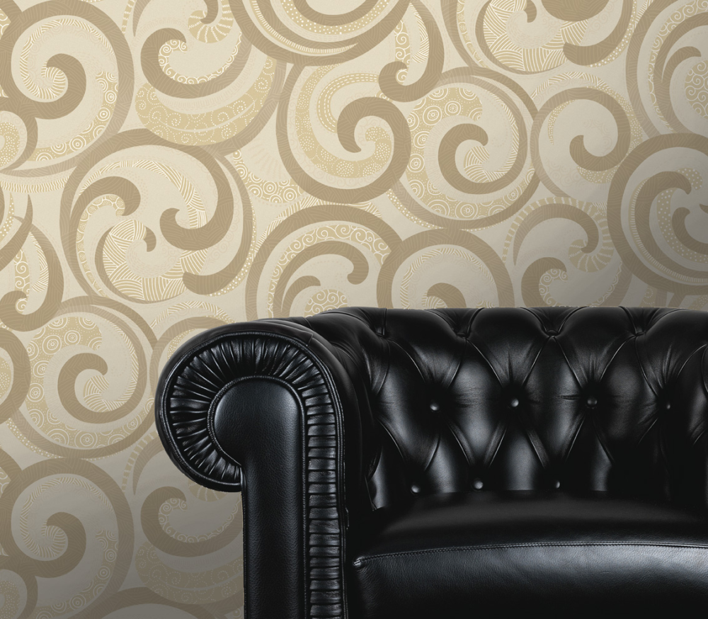 842 17 Swirl Scroll cream Gold Textured Wallpaper eBay
