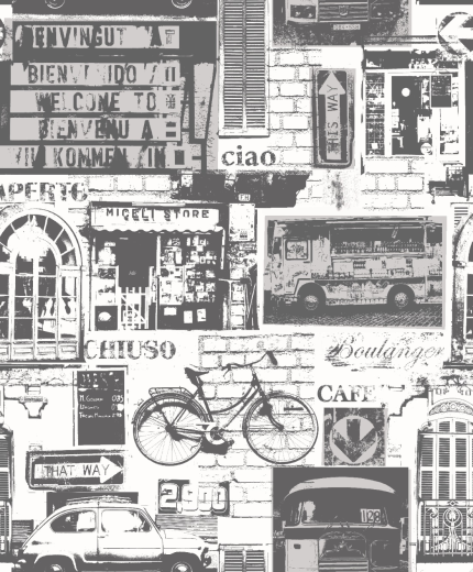 Love Wallpaper Rugeley : 11239 - Urban Sights - Black / White - Bicycle - Italian ...