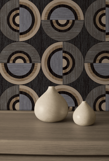 J32307 Retro circles charcoal Biscuit Wallpaper eBay