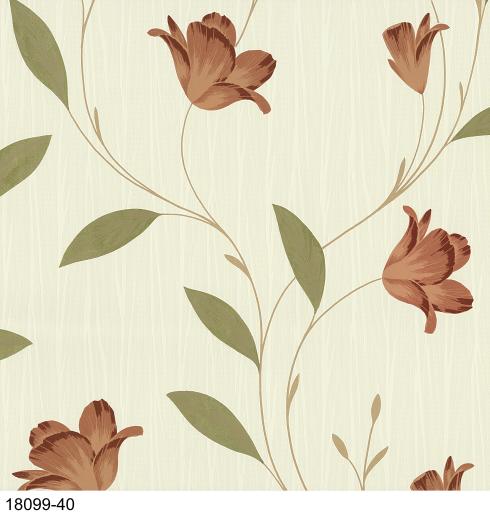 18099-40 - Terracotta - Trailing Leaf - Flower - Wallpaper ...
