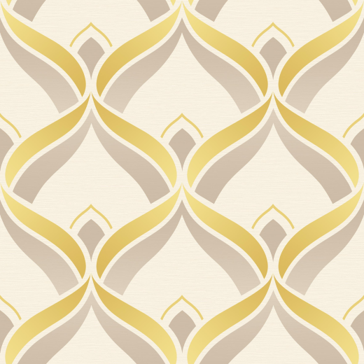 Retro - Geometric - Art Deco - Trellis - Yellow / Beige ...
