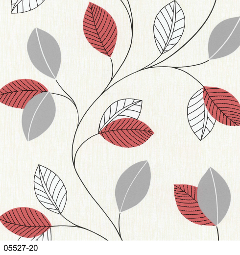 Trailing Leaf Leaves 05527 20 Paprika Grey cream Wallpaper ...