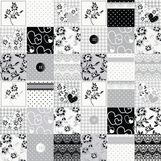 Polyanna Patchwork Black White Grey 20871 Shabby chic ...