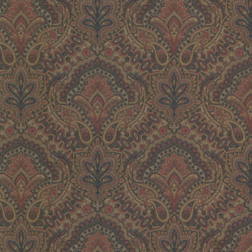 Love Wallpaper Rugeley : Paisley - Damask - Red / Blue / Taupe / Gold - Wallpaper ...