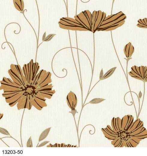 Poppy Flower Trail Terracotta cream Gold Wallpaper eBay