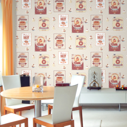Love Wallpaper Rugeley : cooking - M0900 - cream - Great British Bake Off - Spots ...