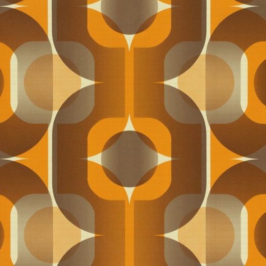95528-1 - Seventies - Retro - Geometric - Orange / cream ...