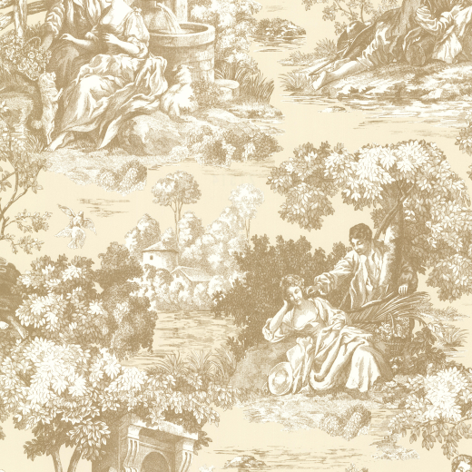 Love Wallpaper Rugeley : Toile de Jouy Gold cream classic Scene countryside View ...