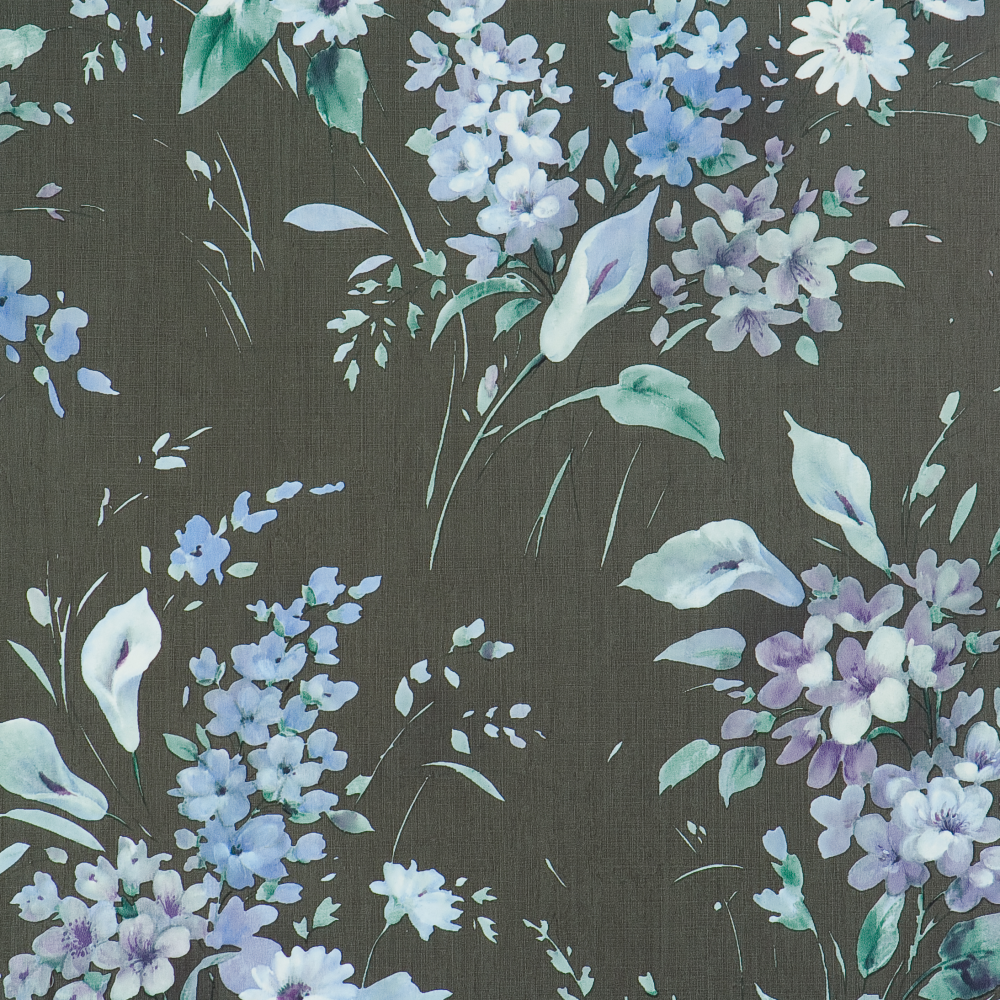 Wild Flowers Orchids Daisies Blue Green charcoal Wallpaper ...