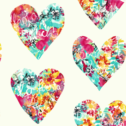 Love Wallpaper Rugeley : 675500 - clara - Hearts - Pink / Teal / White - 675500 ...