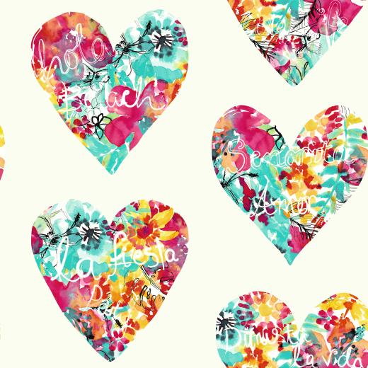 675500 - clara - Hearts - Pink / Teal / White - 675500 ...