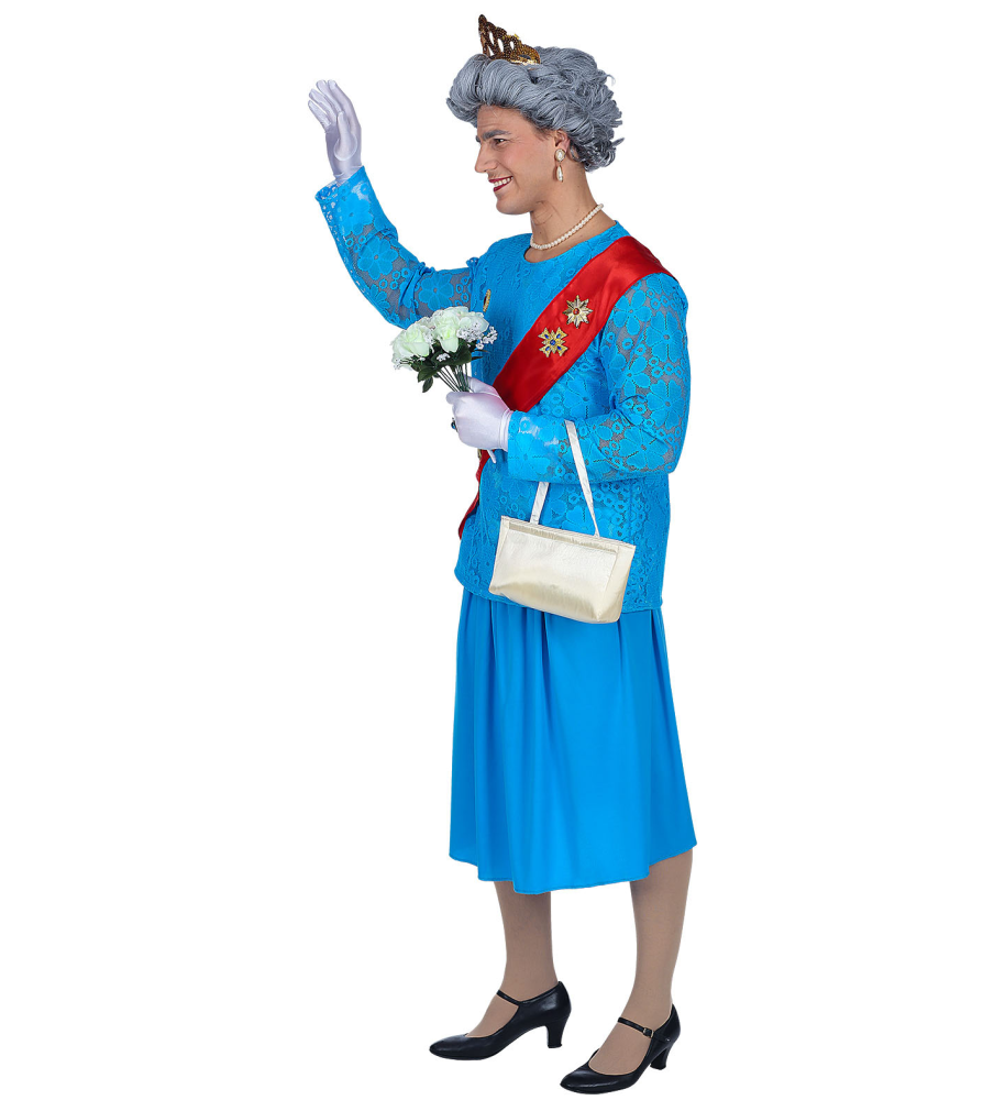 The Queen Her Majesty Costume Stag Drag Dress Up Party Fancy Dress