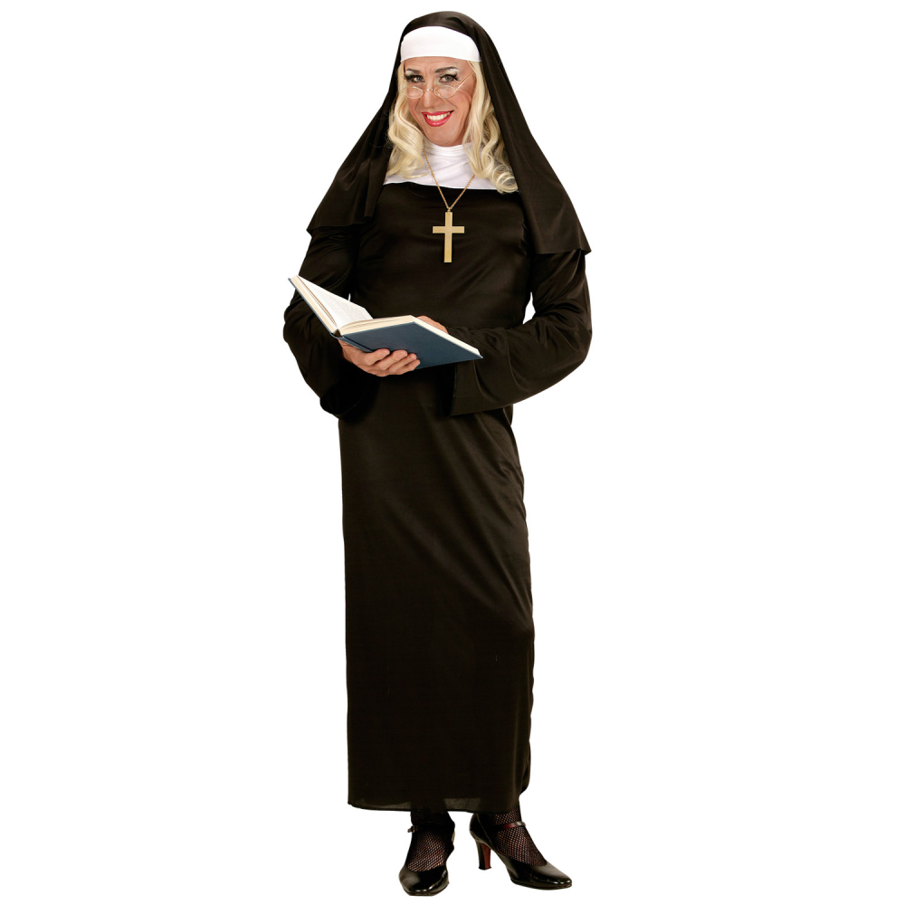 Nun Habit Costume Womens Ladies Sister Act Holy Religious Fancy Dress Outfit