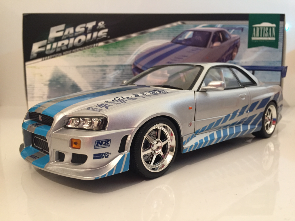 fast and furious 2 fast 2 furious brians 1999 nissan skyline gt r r34 1 18 scale ebay. Black Bedroom Furniture Sets. Home Design Ideas