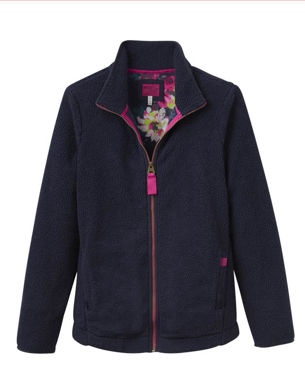 Joules Maeve Womens Zip Through Fleece Sweatshirt - Marine Navy