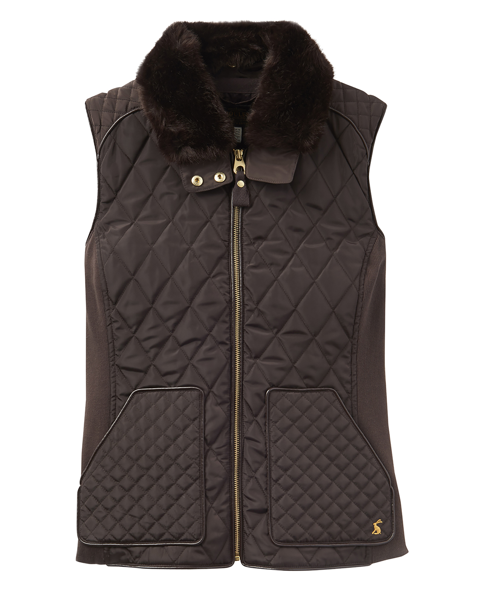 Joules Inverness Womens Quilted Gilet Faux Fur Collar - Dark Brown ... : quilted gillet - Adamdwight.com