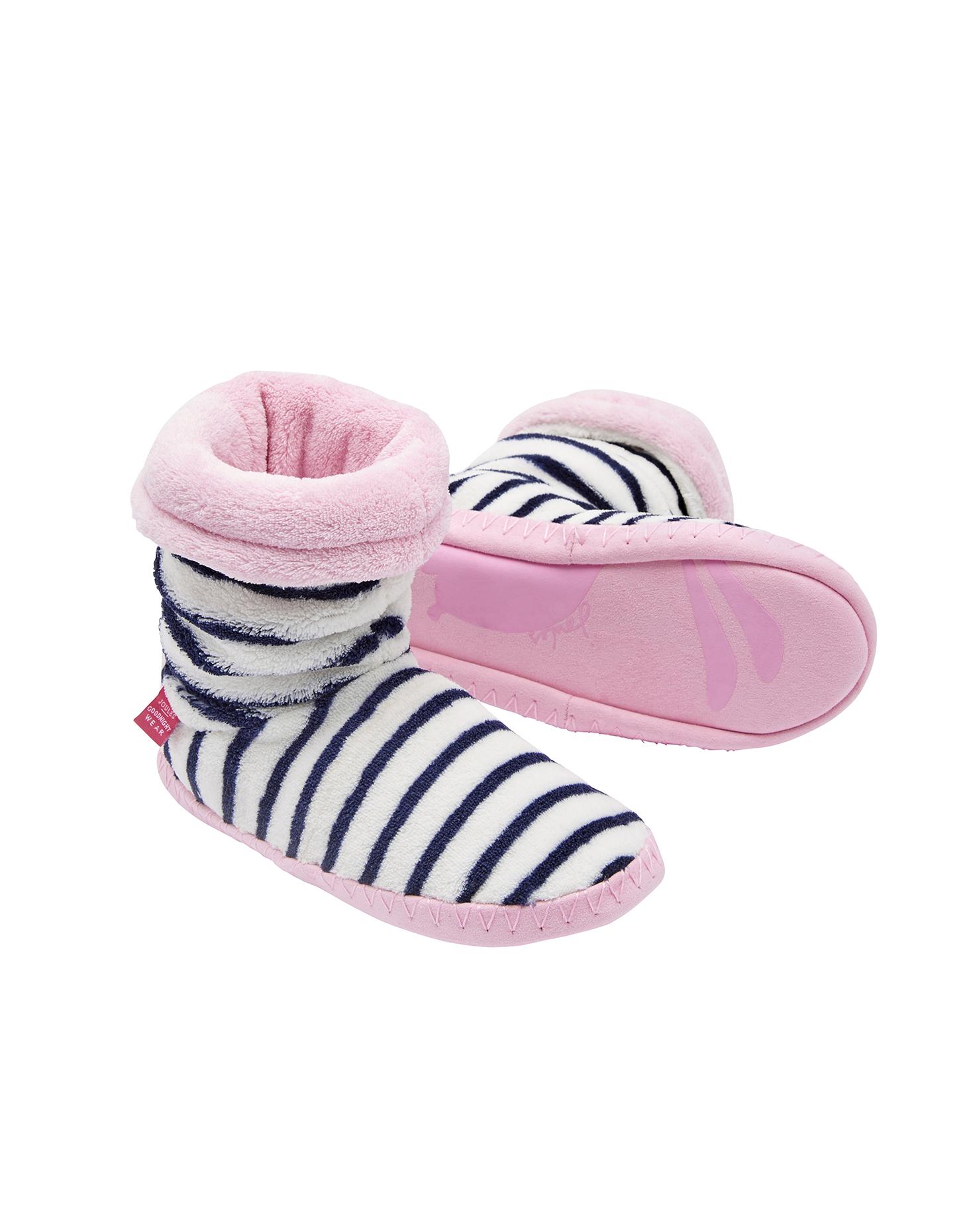 Joules Junior Padabout Girls Slipper Socks French Navy Stripe