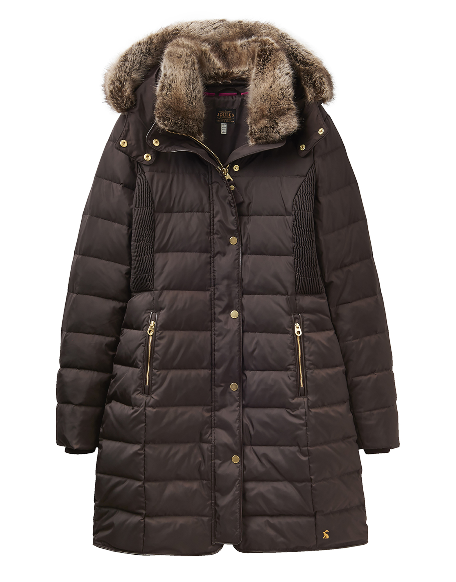 Joules Caldecott Womens Padded Coat - Dark Brown | eBay