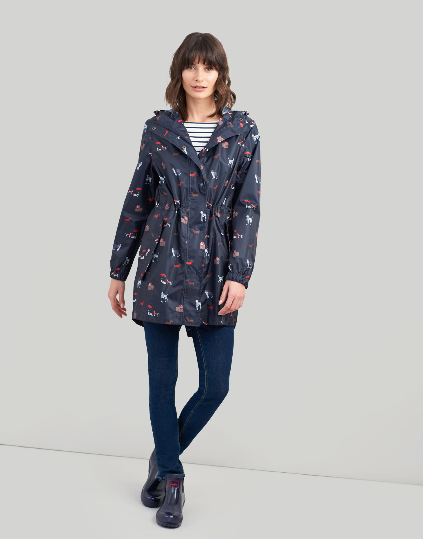 Joules-Golightly-Femme-Imprime-Impermeable-Packaway-veste-bleu-marine-Chiens miniature 4