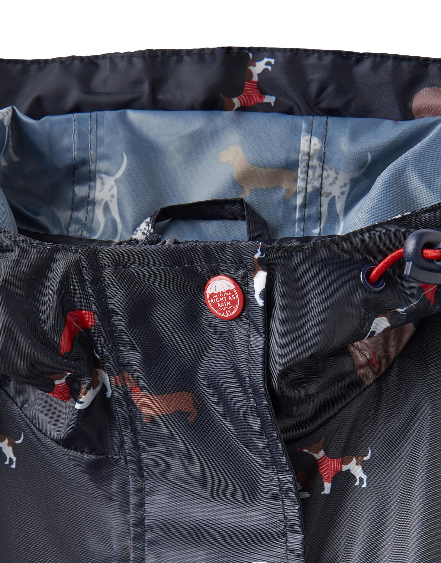 Joules-Golightly-Femme-Imprime-Impermeable-Packaway-veste-bleu-marine-Chiens miniature 7