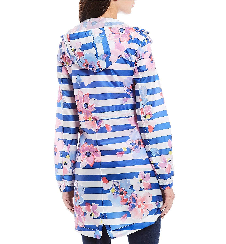 Blue Stripe Floral Joules Golightly Womens Printed Waterproof Packaway Jacket