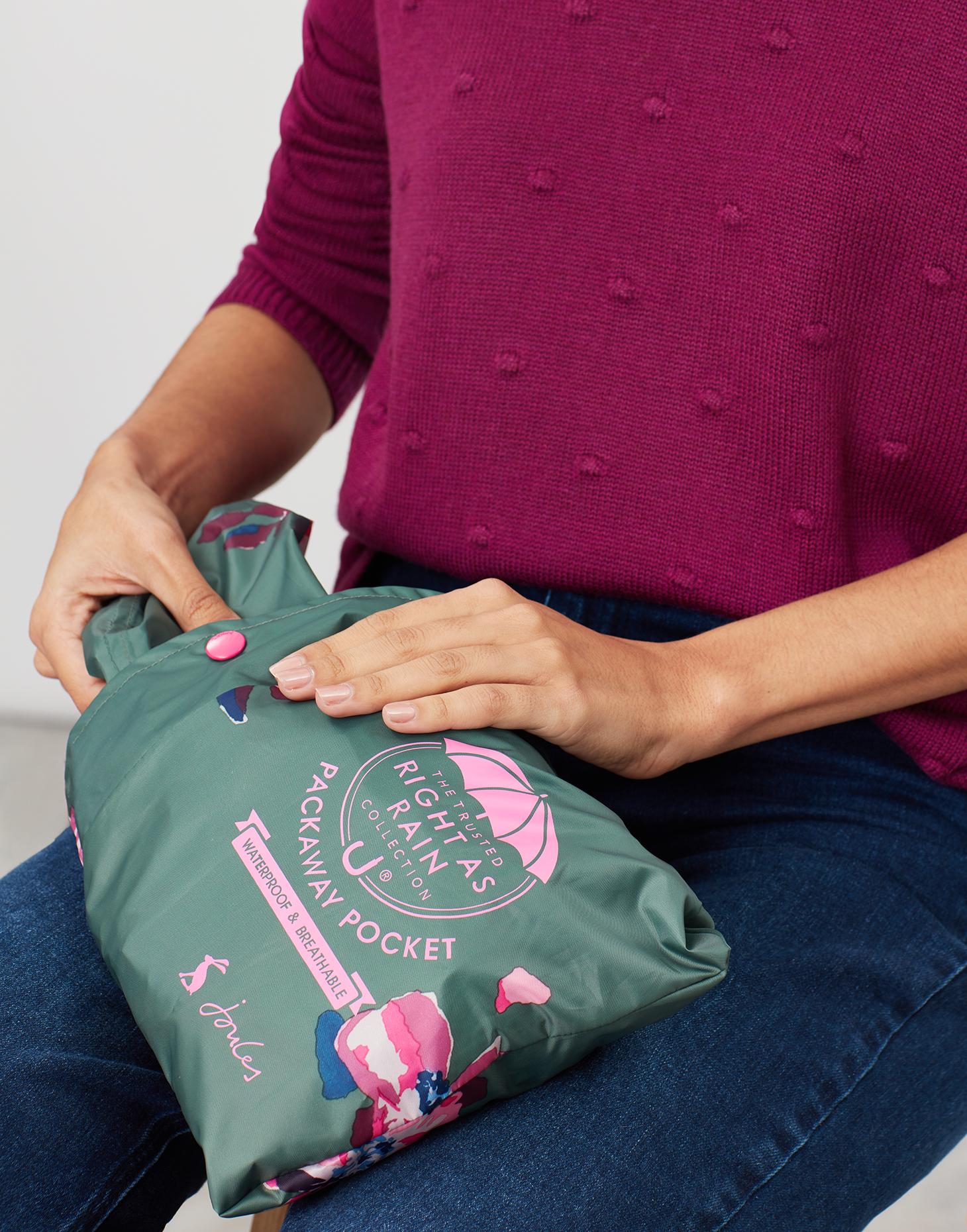 Joules Golightly Womens Printed Waterproof Packaway Jacket Green Spaced Floral