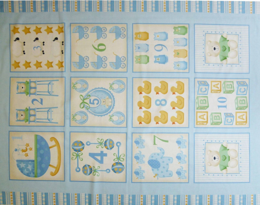 Childrens patchwork fabric baby cot panel blue for Baby fabric uk
