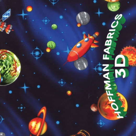 Hoffman patchwork fabric childrens 3d space ebay for 3d space fabric