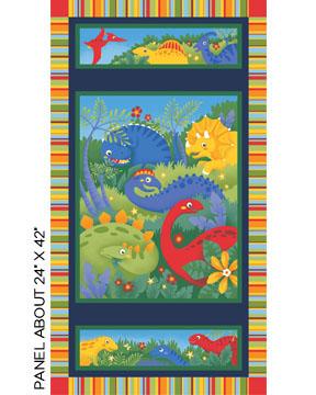 Childrens fabric panel dinosaur world ebay for Childrens fabric uk