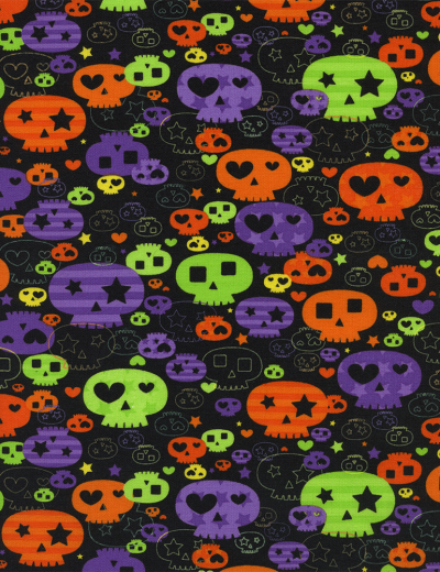 bright skulls halloween childrens fabric