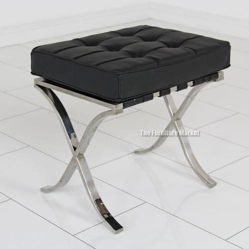 Designer Black Leather Stool Bedroom Furniture