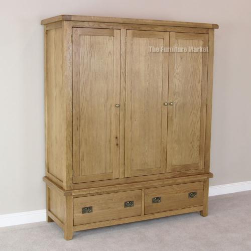 Cheshire Oak 3 Door Triple Wardrobe Bedroom Rustic Country Furniture OAK4