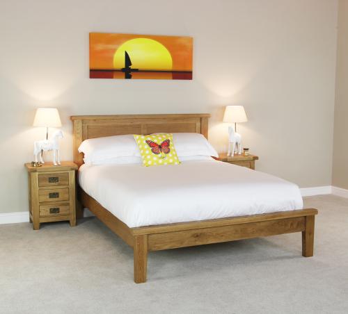 Cheshire Oak 5ft King Size Panel Bed Rustic Solid Bedroom Furniture OAK15
